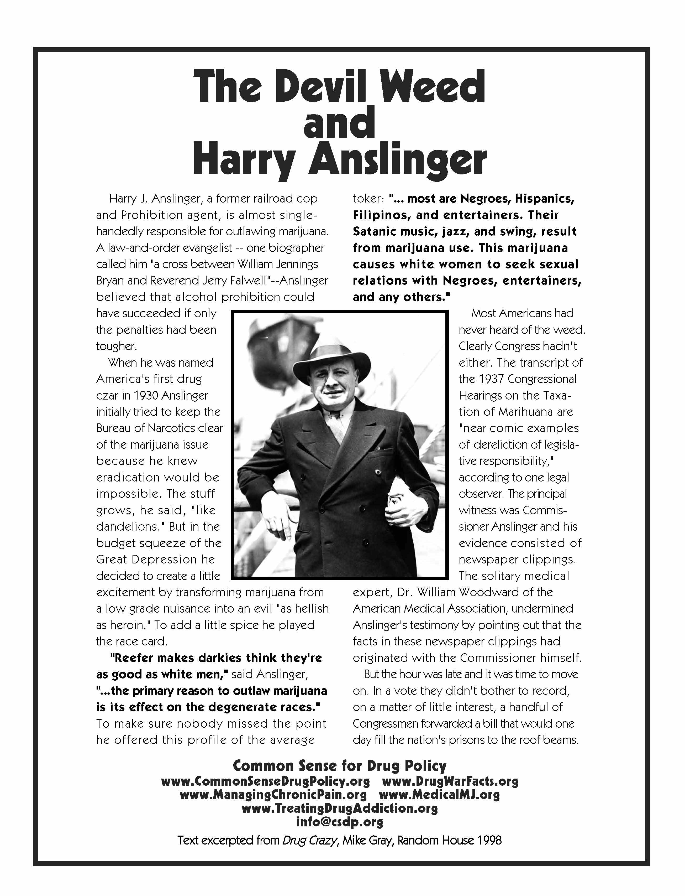 The Devil Weed and Harry J Anslinger